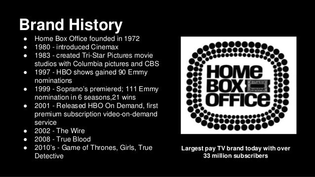Marvelous ... 2. Brand History ○ Home Box Office ...