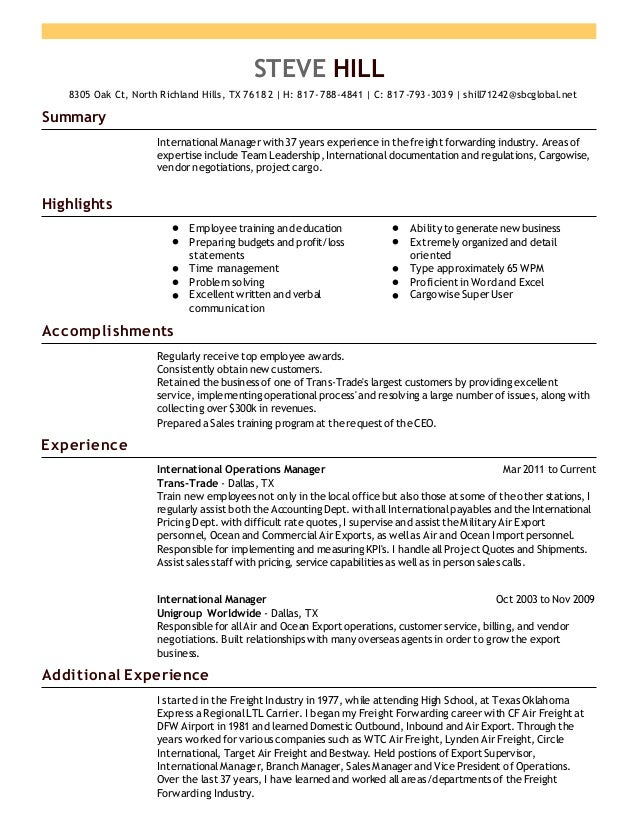 freight forwarding sales resume