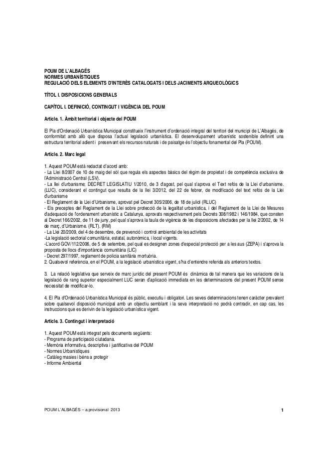POUM L'ALBAGÉS – a.provisional 2013 1 POUM DE L'ALBAGÉS NORMES URBANÍSTIQUES REGULACIÓ DELS ELEMENTS D'INTERÈS CATALOGATS ...