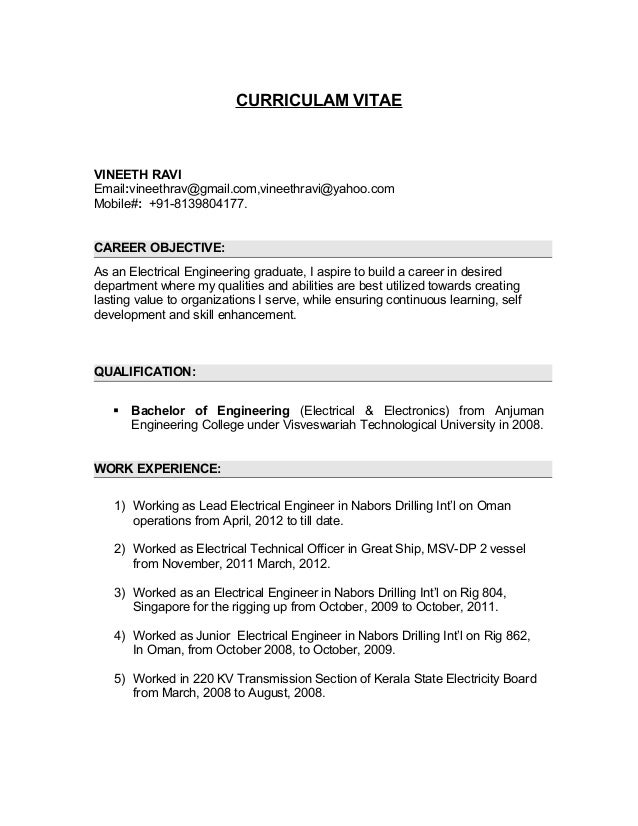 Resume- Electrical Engineer-project descripition