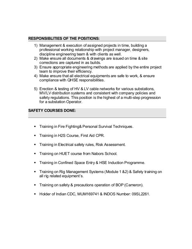 resume electrical engineer project descripition