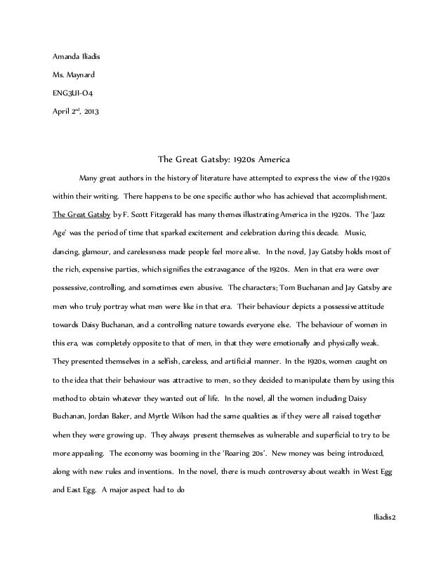 1920s great gatsby essay The great gatsby essays and he refers to time repeatedly to reinforce the idea that time is a driving force not only for the 1920s, a period of great.