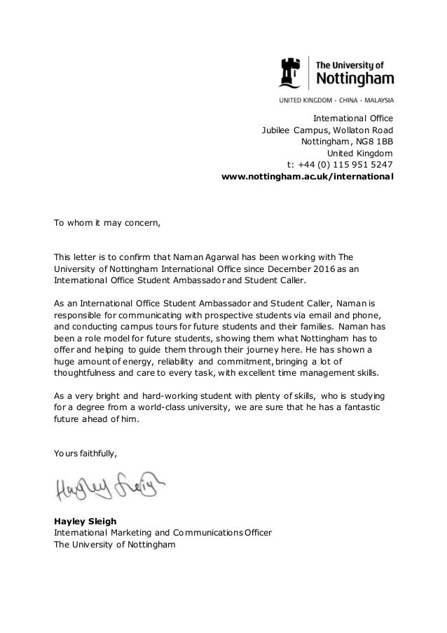 International student caller reference letter international student caller reference letter international office jubilee campus wollaton road nottingham ng8 1bb united kingdom t expocarfo Gallery