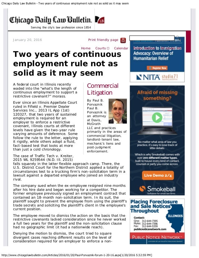 Chicago Daily Law Bulletin - Two years of continuous employment rule not as solid as it may seem http://www.chicagolawbull...