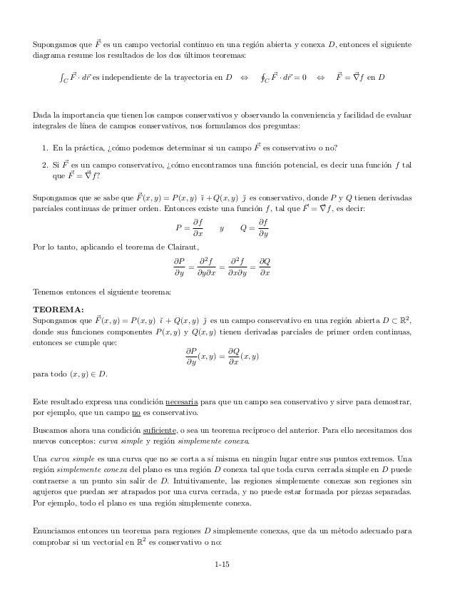 Supongamos que F es un campo vectorial continuo en una regi´on abierta y conexa D, entonces el siguiente diagrama resume l...