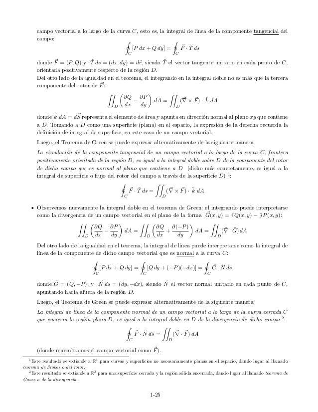 campo vectorial a lo largo de la curva C, esto es, la integral de l´ınea de la componente tangencial del campo: C [P dx + ...