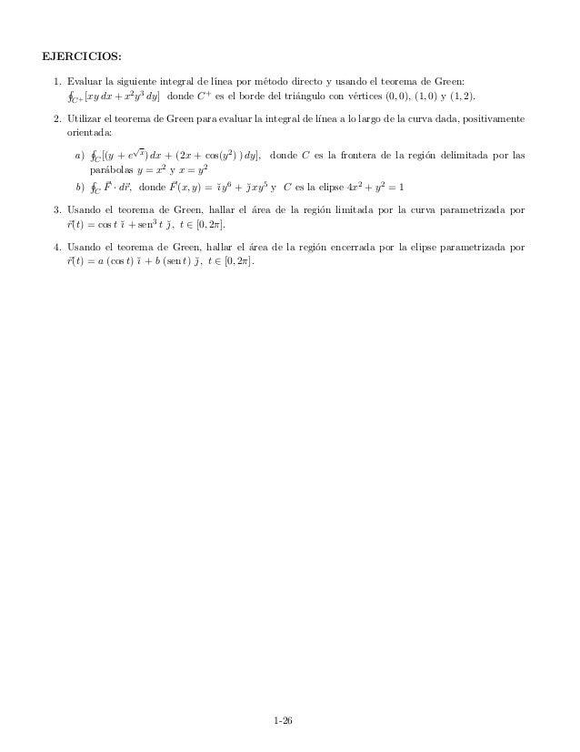 EJERCICIOS: 1. Evaluar la siguiente integral de l´ınea por m´etodo directo y usando el teorema de Green: C+ [xy dx + x2y3 ...