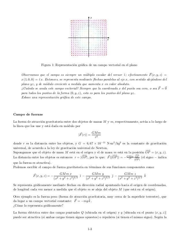 Figura 1: Representaci´on gr´afica de un campo vectorial en el plano Observamos que el campo es siempre un m´ultiplo escala...