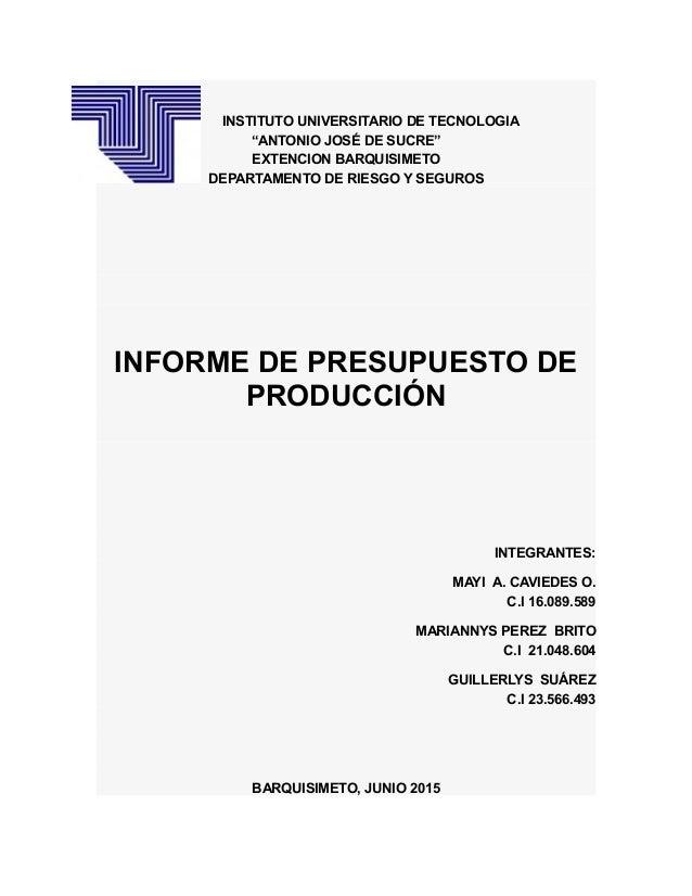 """INSTITUTO UNIVERSITARIO DE TECNOLOGIA """"ANTONIO JOSÉ DE SUCRE"""" EXTENCION BARQUISIMETO DEPARTAMENTO DE RIESGO Y SEGUROS INFO..."""