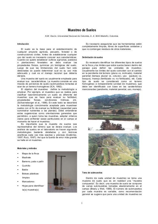 Muestreo de Suelos                             N.W. Osorio. Universidad Nacional de Colombia, A. A. 3840 Medellín, Colombi...