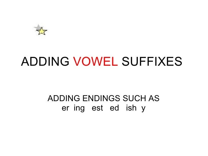 ADDING  VOWEL  SUFFIXES ADDING ENDINGS SUCH AS er ing  est  ed  ish y