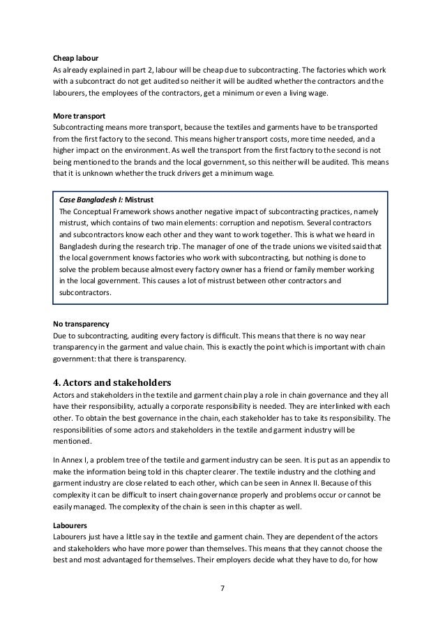 Chain governance and subcontracting in textile and garment industry – Dragon Genetics Worksheet