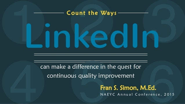 5 6 321 can make a difference in the quest for continuous quality improvement Count the Ways LinkedIn Fran S. Simon, M.Ed....