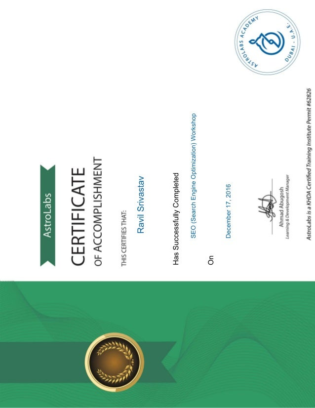 Seo Certification Astrolabs