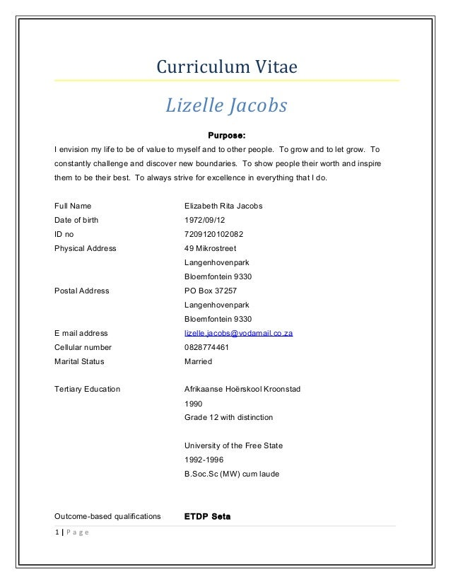 curriculum vitae lizelle jacobs purpose i envision my life to be of value to myself