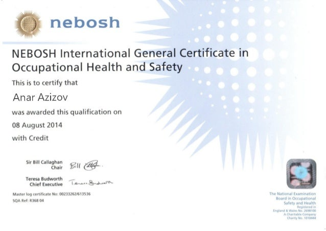 Nebosh international general certificate in occupational for Health and safety certificate template