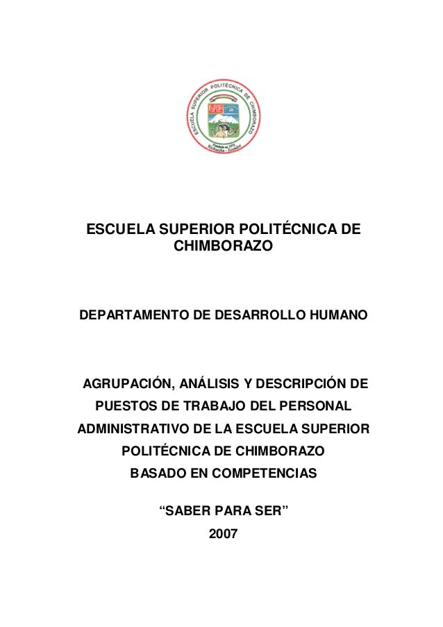 ESCUELA SUPERIOR POLITÉCNICA DE CHIMBORAZO  DEPARTAMENTO DE DESARROLLO HUMANO  AGRUPACIÓN, ANÁLISIS Y DESCRIPCIÓN DE PUEST...
