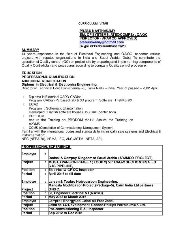 curriculum vitae doc curriculum vitae prabu kanthasamy e i cp systems atex compex qa qc