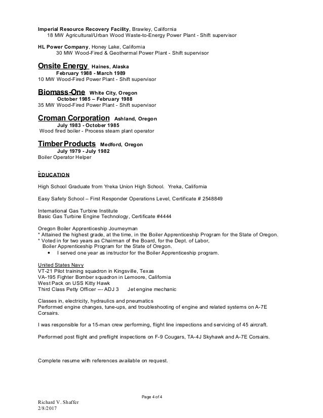 0001 RICHARD_V_SHAFFER - Latest Resume Jan 2017