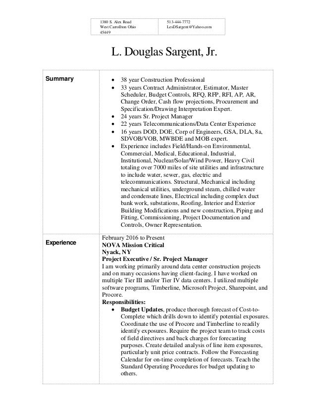 Resume Short Version With Project List 07252016