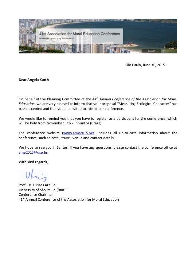 AME Acceptance Letter. São Paulo, June 30, 2015. Dear Angela Kurth On  Behalf Of The Planning
