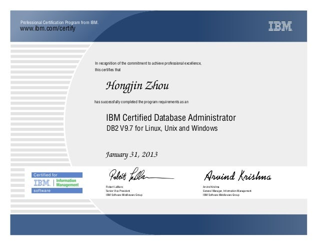 ibm certified database administrator