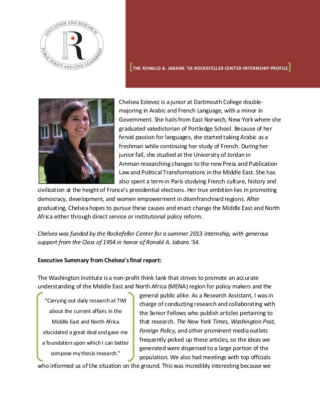 Chelsea Estevez is a junior at Dartmouth College double- majoring in Arabic and French Language, with a minor in Governmen...