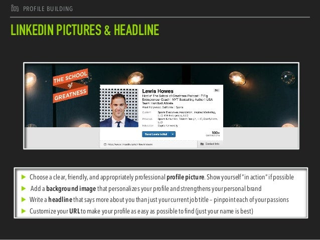 J PROFILE BUILDING LINKEDIN PICTURES & HEADLINE ▶ Choosea clear,friendly,andappropriatelyprofessionalprofilepicture.Showyo...