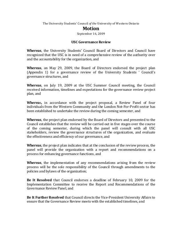 TheUniversityStudents'CounciloftheUniversityofWesternOntario Motion September16,2009  USCGovernanceReview...