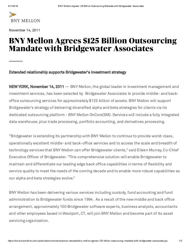 BNYM Outsourcing with Bridgewater