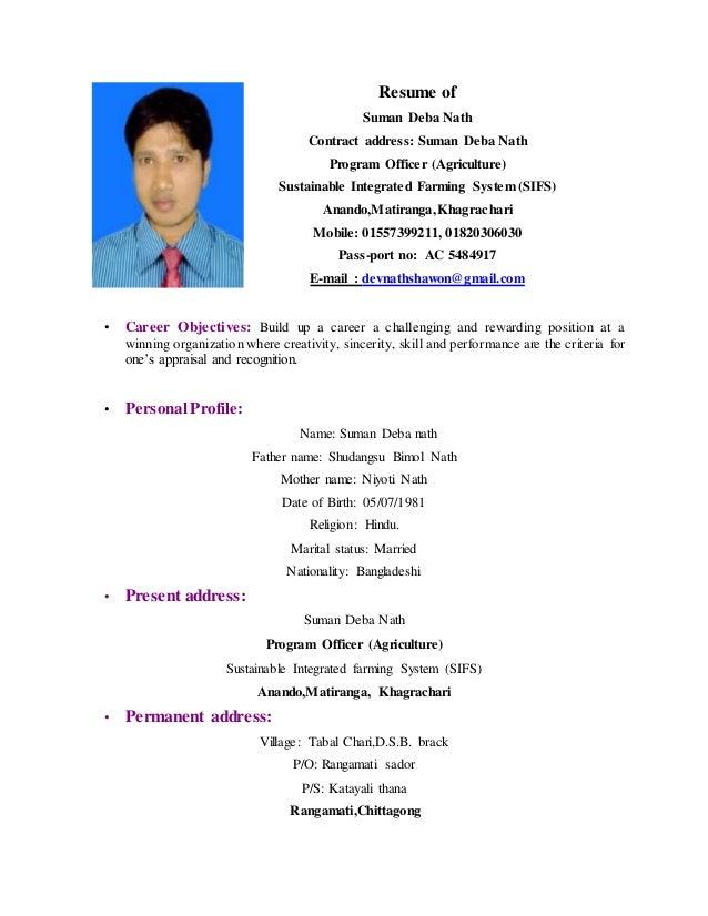 resume of suman debnath agri