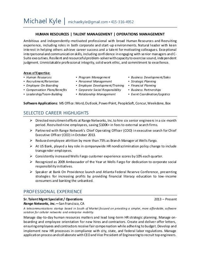 hr operations resume