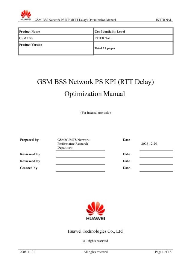 54 gsm bss network performance ps kpi (rtt delay ...
