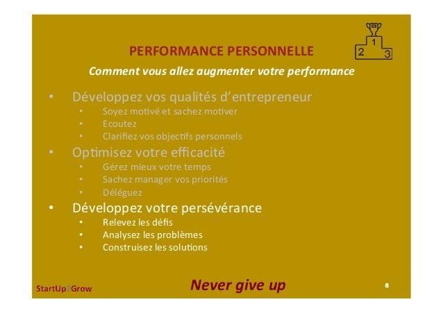 PERFORMANCEPERSONNELLE • Développezvosqualitésd'entrepreneur • Soyezmo,véetsachezmo,ver • Ecoutez • Clarifi...