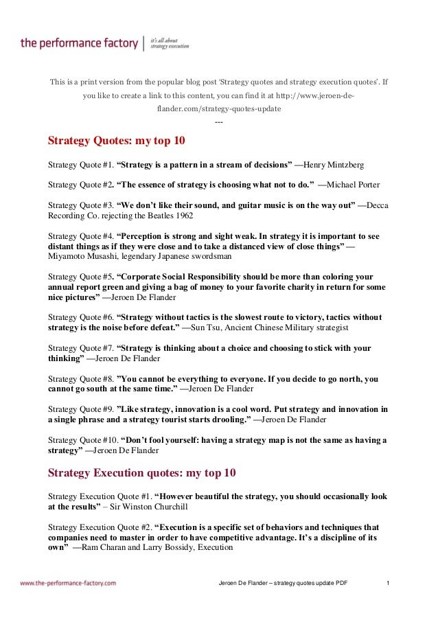 Jeroen De Flander – strategy quotes update PDF 1 This is a print version from the popular blog post 'Strategy quotes and s...