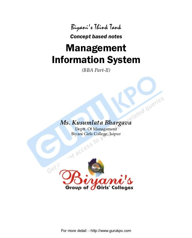 Biyanis Think Tank                    Concept based notes             Management          Information System              ...