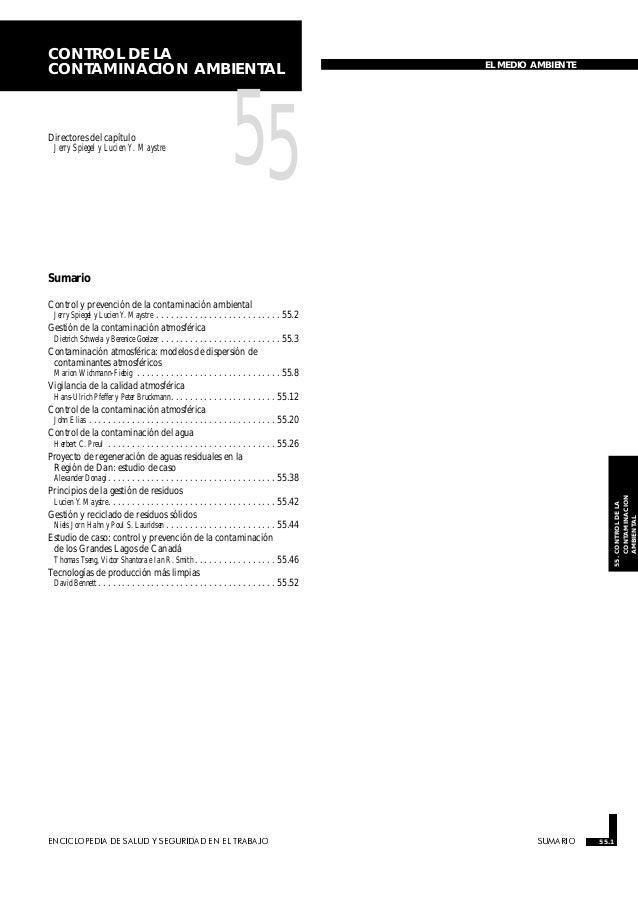 CONTROL DE LA CONTAMINACION AMBIENTAL  Directores del capítulo Jerry Spiegel y Lucien Y. Maystre  EL MEDIO AMBIENTE  55  S...
