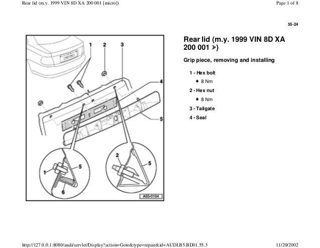 AUDI A4 B5 1.8L 1996 BADY 55 24 rear lid vin 8 d xa 200 001