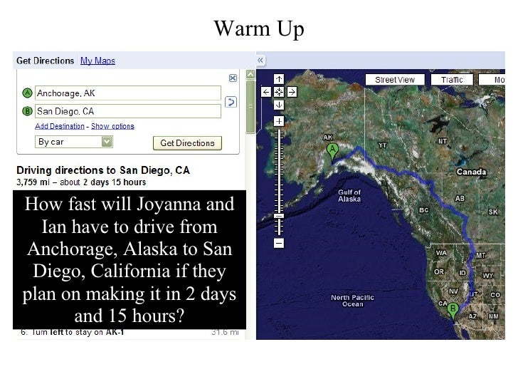 How fast will Joyanna and Ian have to drive from Anchorage, Alaska to San Diego, California if they plan on making it in 2...
