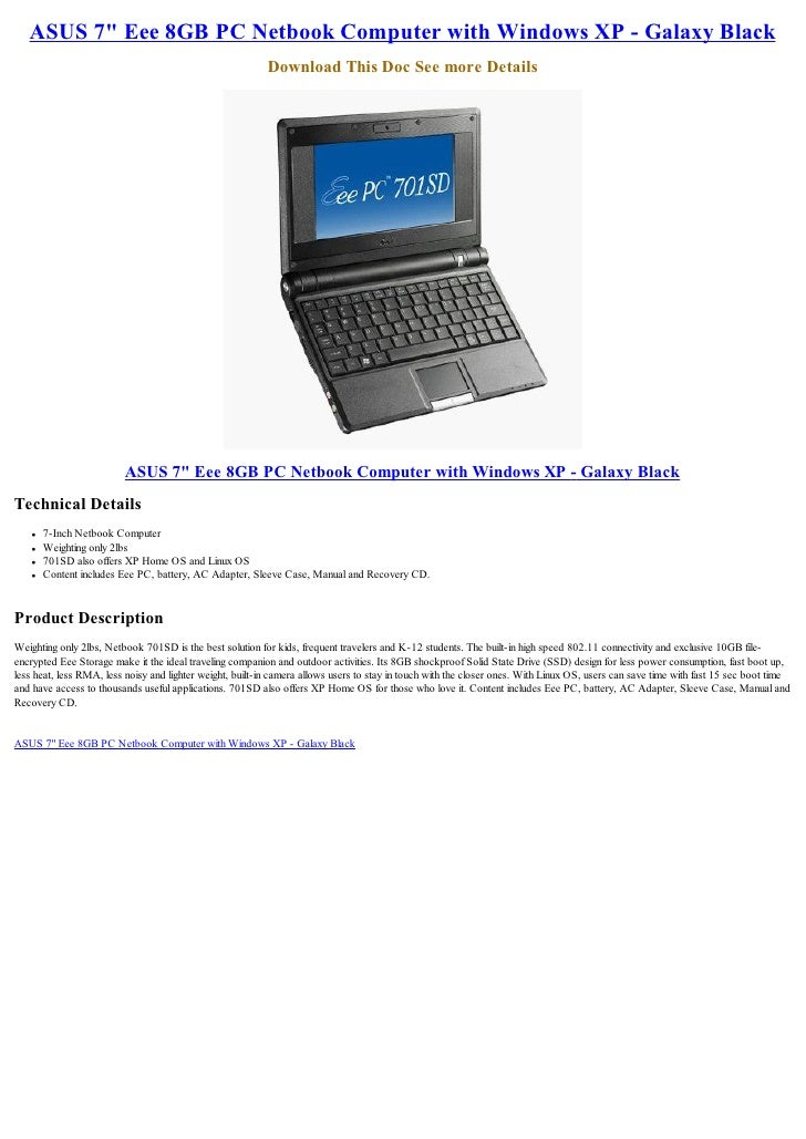 "ASUS 7"" Eee 8GB PC Netbook Computer with Windows XP - Galaxy Black                                                        ..."