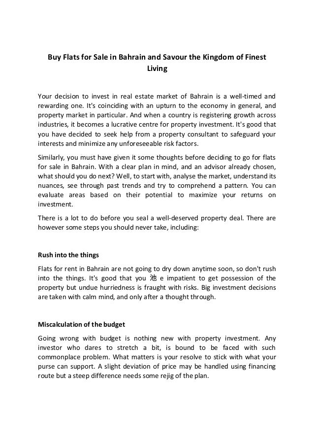 Buy Flats for Sale in Bahrain