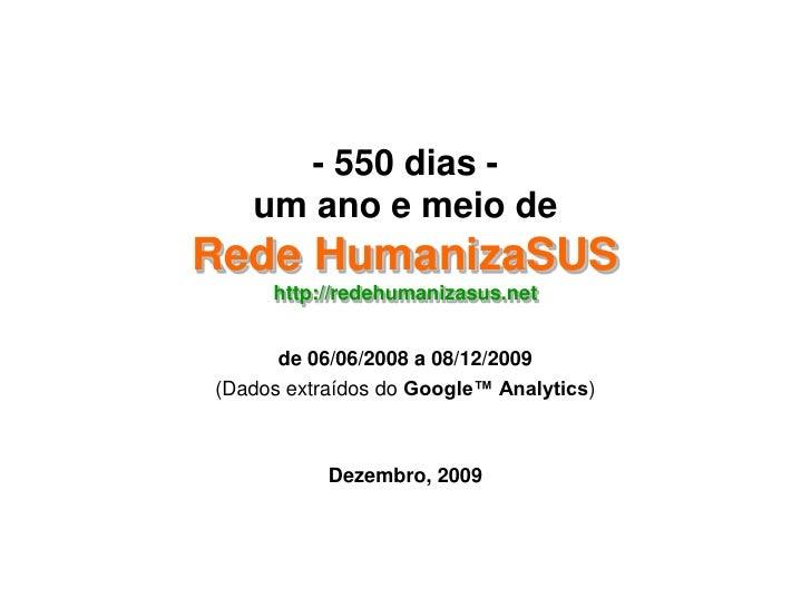 - 550 dias -um ano e meio deRede HumanizaSUShttp://redehumanizasus.net<br />de 06/06/2008 a 08/12/2009<br />(Dados extraíd...