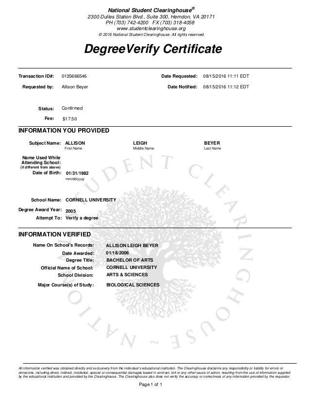 Verify Degree Cornell University