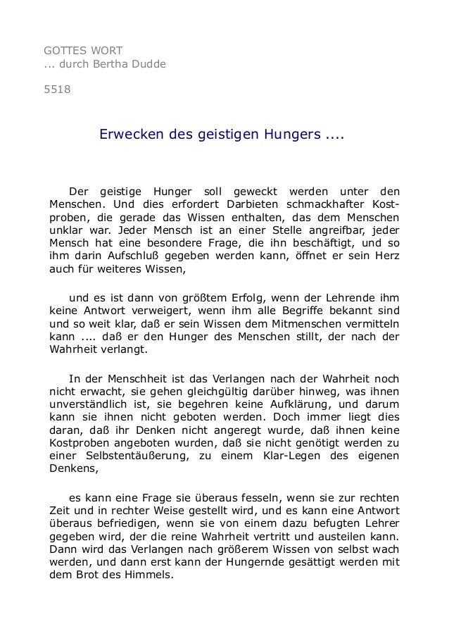 GOTTES WORT ... durch Bertha Dudde 5518 Erwecken des geistigen Hungers .... Der geistige Hunger soll geweckt werden unter ...