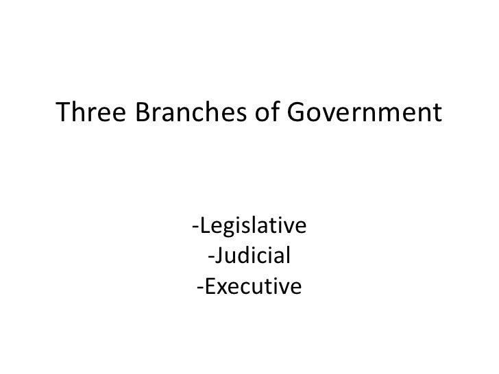 Three Branches of Government<br />-Legislative<br />-Judicial<br />-Executive<br />