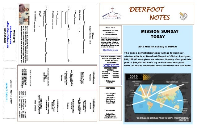 DEERFOOTDEERFOOTDEERFOOTDEERFOOT NOTESNOTESNOTESNOTES May 5, 2019 GreetersMay5,2019 IMPACTGROUP1 WELCOME TO THE DEERFOOT C...
