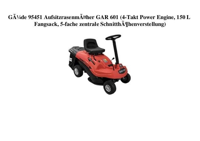 Güde 95451 Aufsitzrasenmäher GAR 601 (4-Takt Power Engine, 150 L Fangsack, 5-fache zentrale Schnitthöhenverstellung)