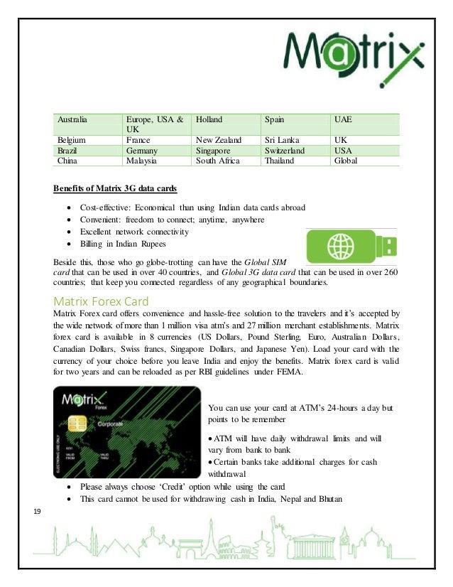 Matrix forex card login