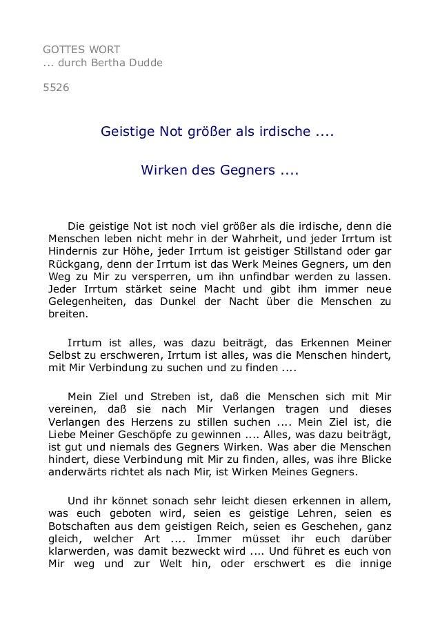 GOTTES WORT ... durch Bertha Dudde 5526 Geistige Not größer als irdische .... Wirken des Gegners .... Die geistige Not ist...