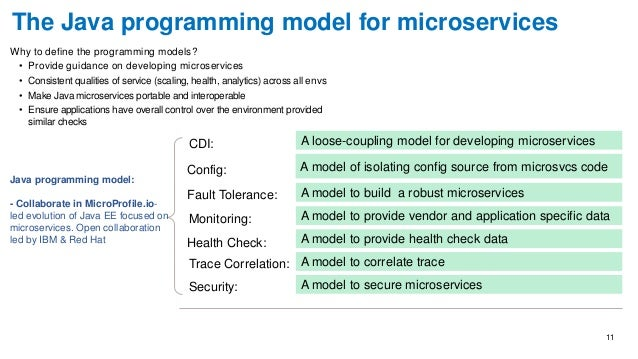 11 Why to define the programming models? • Provide guidance on developing microservices • Consistent qualities of service ...